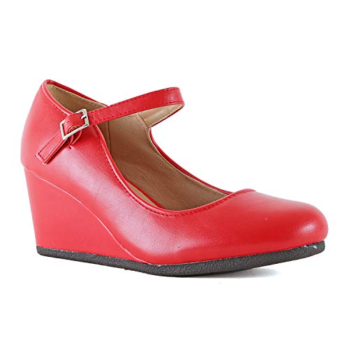 Womens Classic Comfortable Mary Jane Shoe - Round Toe Mid Low Heel Wedge Walking Pumps (9 M US, Red Pu)