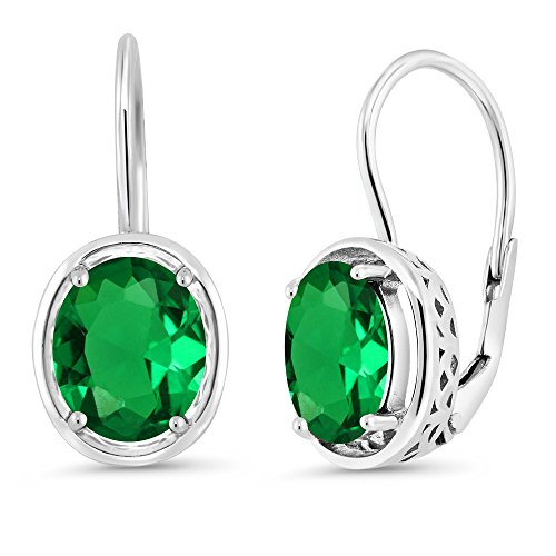 - Gem Stone King 925 Sterling Silver Green Simulated Emerald Dangle Earrings 3.00 Ctw Oval 9X7MM