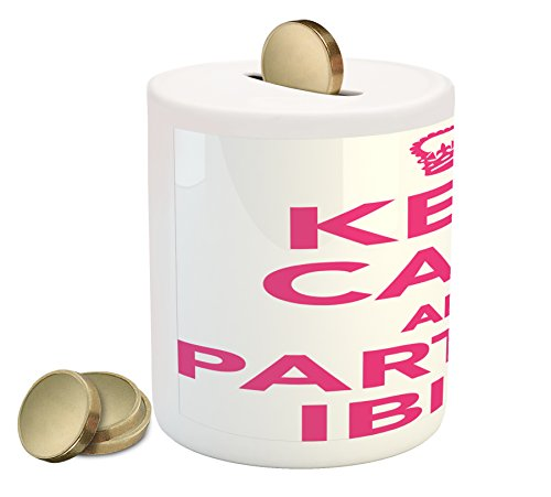 Lunarable Ibiza Piggy Bank, Keep Calm and Party Pop Culture Phrase with Crown Motif Spanish Balearic Islands, Printed Ceramic Coin Bank Money Box for Cash Saving, Pink and White by Lunarable