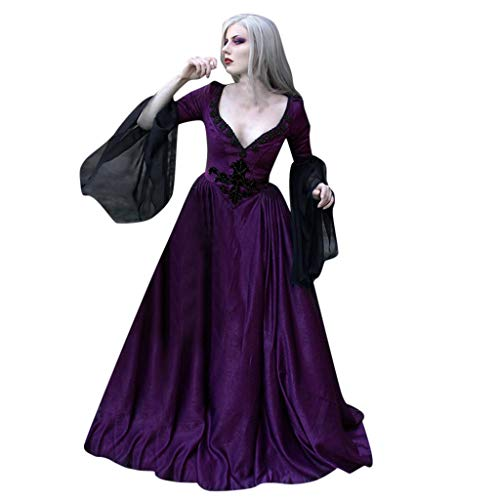 TOTOD Halloween Costume Medieval Vintage Gothic Court Style Slim Sexy Low-Cut V Neck Lace Patchwork Floor-Length Dress Purple
