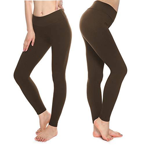 KT Buttery Soft Leggings Capri for Women - High Waisted Leggings Pants with Inner Pocket (Tween, Coffee)]()