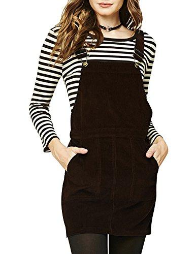 hodoyi Womens Corduroy Sleeveless Solid Overall Pinafore Dress(XXL,Dark Brown) (Double Pleated Corduroy)