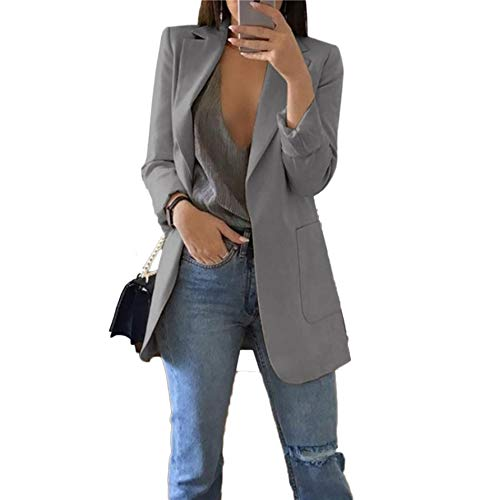 Women's Cuffed Sleeve One Open Front Oversized Boyfriend Blazer for Office Lady Gray ()