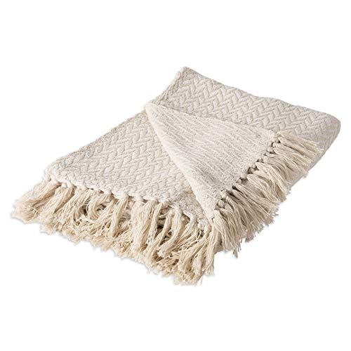 Hebel Rustic Farmhou Cotton Zig-Zag Blanket Throw with Fringe for Chair, Couch, Picnic, Camping, Beach, Everyday U, 50 x 60 - Natural | Model BLNKT - 5 | 4550 x 60 inches