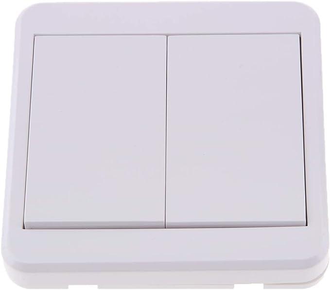 Baoblaze 433MHz Control Remoto Inal/ámbrico Interruptor de Pared Blanco D Interruptor Conmutador de Superficie 1 V/ía