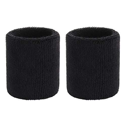OnUpgo Sweatband Wrist Band Set Sports Wrist Striped Sweatbands, Terry Cloth Wristband, Sweat - Black Wrist Sweatband