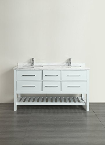 22 Carrera White Countertop - Eviva EVVN512-60WH Natalie F. White Bathroom Vanity with White Carrera Marble Counter-Top & Double Porcelain Sinks, 60