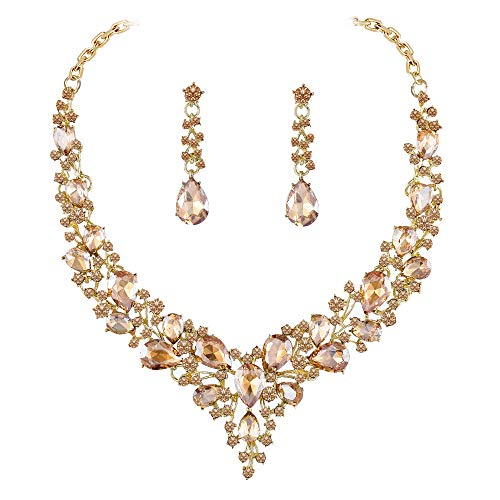 Paxuan Gold Tone Wedding Bridal Necklace Earrings Sets Champagne Crystal Jewelry Set for Wedding ()
