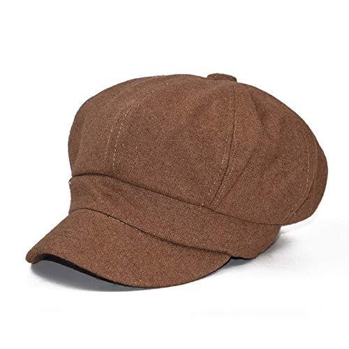 女性のウールの帽 子レトロウール 八角形の帽子ベレー帽子 女性 冬の帽子,カーキ