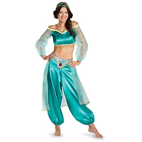Disguise Women's Disney Aladdin Jasmine Sassy Prestige Costume, Green, Medium -