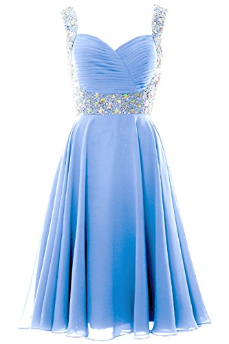 MACloth Elegant Straps Cocktail Dress Chiffon Short Wedding Party Formal Gown Cielo azul