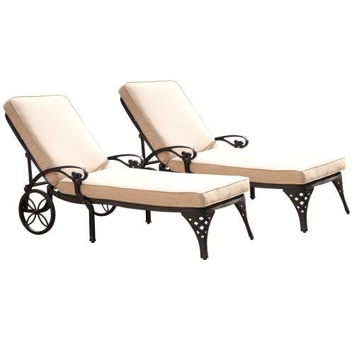 (Biscayne Black Chaise Lounge Chair with Taupe Cushion by Home Styles)
