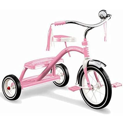 Pink tricycle with basket