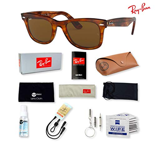 Ray-Ban RB2140 (954) Light Tortoise/Crystal Brown 50mm, Sunglasses Bundle with original case, cloth, booklet and accessories (6 items)