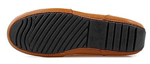 Marrón Cordones Hombre con Zapatos de Seaoeey Cuero Planos 804anqwH