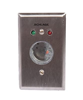 """Schlage Electronics 653-14-L2 Keyswitch, LED Indicators, DPDT Maintained Single Direction, Single Gang, Stainless Steel Plate with Satin Chrome Finish, 4-1/2"""" H x 2-3/4"""" W"""