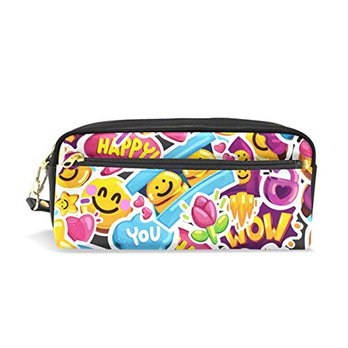Pencil Case, Smiley Faces Emoji Love Printed Travel Makeup Pouch Large Capacity Waterproof Leather 2 Compartments Best Halloween Gift for Kids Girls Boys -