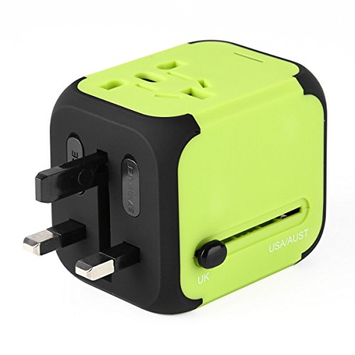 Travel Adapter, AC Adapter Charger All-in-One US UK EU AU Plugs Worldwide Universal Wall Charger with Dual USB Ports(Green) (Current Converter Electric)