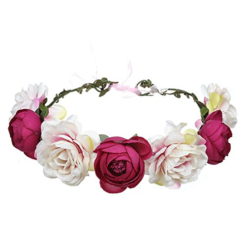 June Bloomy Women Rose Floral Crown Hair Wreath Leave Flower Headband with Adjustable Ribbon (Pink Purple)