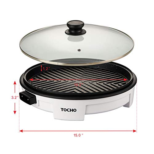 "Electric Griddles,Electric Indoor Grill,Electric Frying Pan with Lid, Heating Smokeless Table Grill, Non-stick Easy to Clean BBQ Grill, for Party/Home, ETL Certified (TOCHO HY-6504,14""/120V/1500W)"
