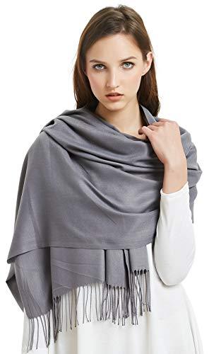 (VIVIAN & VINCENT Large Extra Soft Cashmere Blend Women Pashmina Shawl Wrap Stole Scarf Grey)