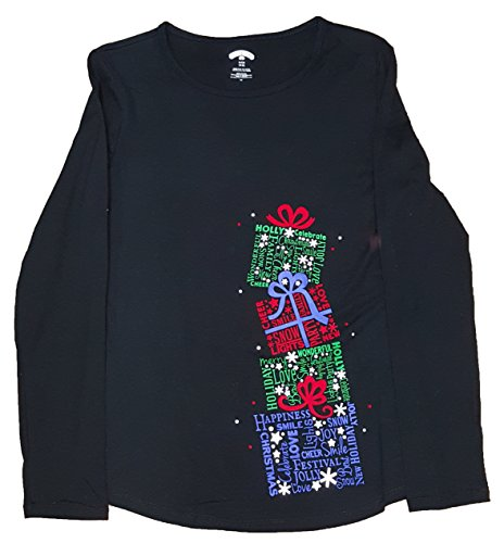 Stacked Presents - Christmas Stacked Presents Text Fill Black Long Sleeve Graphic T-Shirt - 3XL
