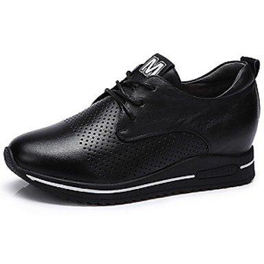 Lvyuan Printemps Automne ggx Lacet Noir 7 Talons À Chaussures Cuir Black Talon 5 Femme Compensé Blanc Cm wwrYFqR