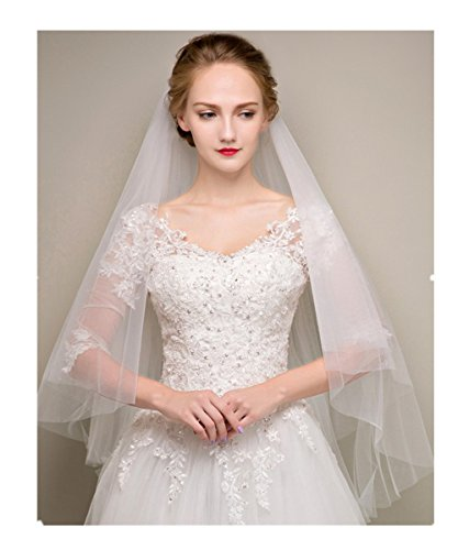 XingMeng Soft 2 Tiers Tulle Wedding Bridal Veil with Comb Ivory