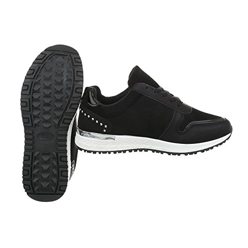 17 P Sneakers Ital Freizeitschuhe Schwarz Damenschuhe Design Low tFqP0YF