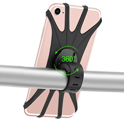 KONCOOL Bike Phone Mount, 360° Rotation Motorcycle Bicycle Handlebar Cradle, Silicone Cell Phone Holder for iPhone Xs Max/XR/8 Plus/7/6S Samsung Galaxy S10+, S10, S10e/S9/S8, Motorola, Nexus, LG
