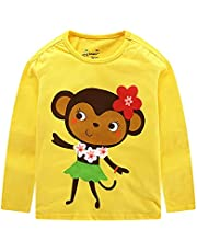 Rixin Toddler Boys Girls Long Sleeve Monkey Cotton T-Shirt Tops Summer Baby Unisex Kids Tees