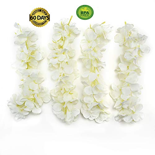 Hydrangea Vine - Artificial Hydrangea Flowers Vine Wisteria Vines Cattleya Flowers Plants for Home Hotel Office Wedding Party Garden Craft Art Décor Garland Room Door Wall Decor 10pc 30CM(Milk White)