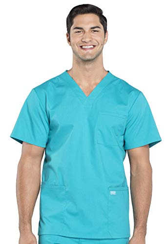 CHEROKEE WW Professionals Men's V-Neck Scrub Top, WW695, XS, Teal Blue