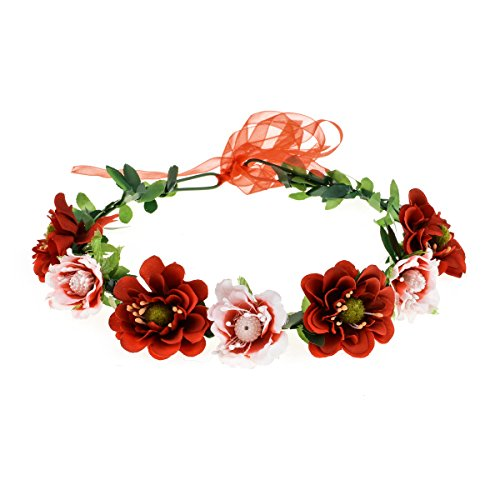 DreamLily Women's Flower Festival Wedding Hair Wreath Boho Floral Headband BC09 (Y/red) -