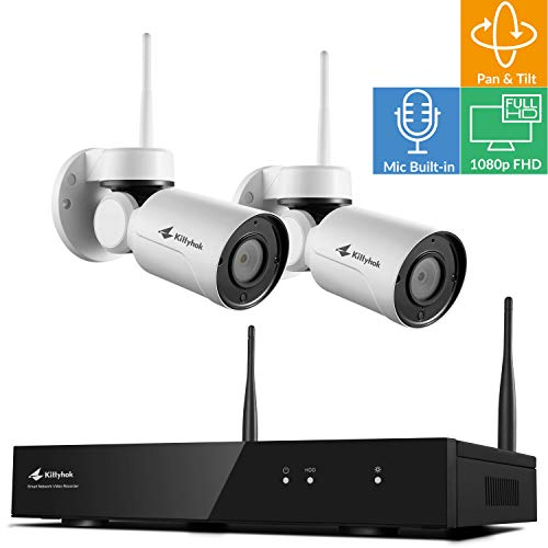 Pan Tilt & Audio | Kittyhok Wireless Security Camera System, 8-Cam H.265+ NVR Base, 2X 1080p WiFi PT Security Cameras, Indoor/Out, Easy View On iPhone & Android, Expandable to 8 Cams, No HDD Version