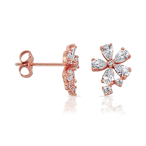 Solid 14k Rose Gold Falling Blossom CZ Stud Earrings for Women and Girls ()