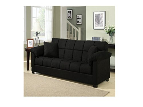 Sleeper Sofa Queen, Sleeper Sofas For Small Spaces, Square-Tufted Microfiber, Color Black