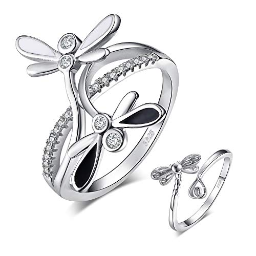 JewelryPalace 925 Sterling Silver Double Dragonfly Infinity CZ Pave Split Shank Cubic Zirconia Ring size -