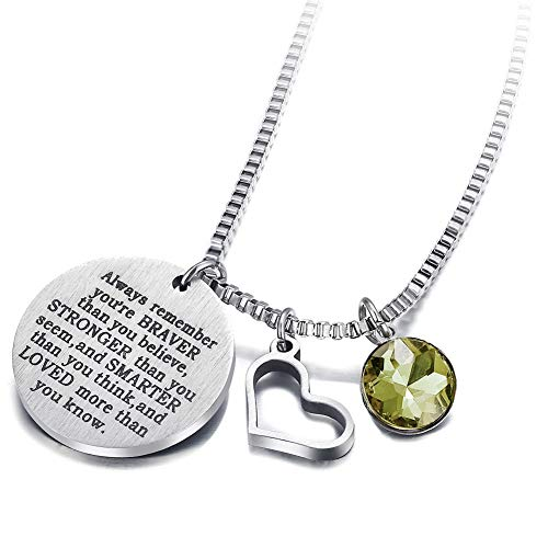 17mile August Birthstone Necklace Stainless Steel Engraved Hypoallergenic Heart Zirconia Necklace Charm for Woman Man Girl Mother (Charm Birthstone August Boy)