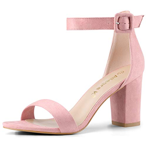 (Allegra K Women's Chunky High Heel Ankle Strap Sandals (Size US 6) Light Pink)