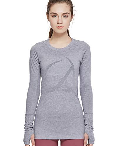 CRZ YOGA Women's Active Long Sleeve Sports Running Tee Top Seamless Leisure T-Shirt Heather Grey S (4-6)