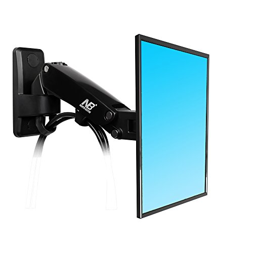 North Bayou TV Monitor Wall Mount Bracket with Full Motion Articulating Swivel and Gas Spring for 17-27 Inch Flat Panel Displays (black-single extension)