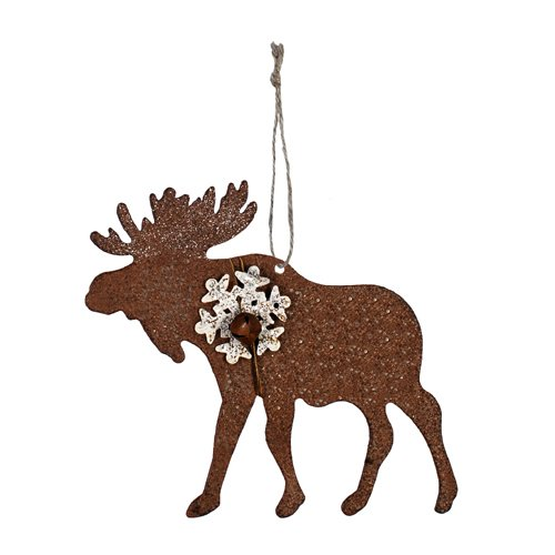 Sunset Vista Design Holiday Ornament, Christmas Moose with Snowflake