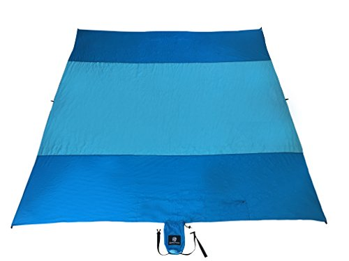 Glowing Horizon Sand Free Beach Blanket Sand Proof Picnic Blanket- Extra Large 9 x 10 in Compact Bag- 8 Hidden Sand Pockets Metal Stakes Storage Pocket, Lightweight, Parachute Nylon