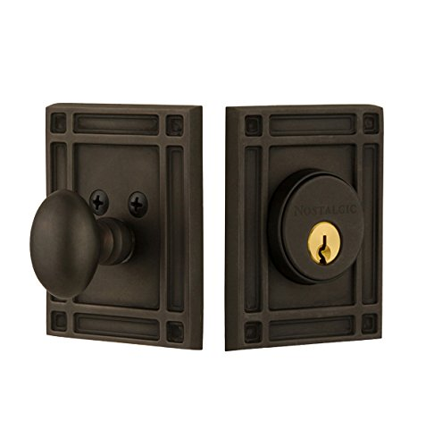 Nostalgic Warehouse 715139 Mission Plate single Cylinder Deadbolt Mission Door Knob In Oil-Rubbed Bronze,