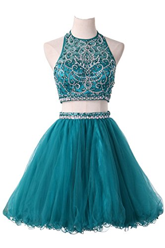 Beaded Short Dress Halter Dress (LucysProm Halter Homecoming Dresses Two Pieces Beaded Bodice Short Prom Dresses Size 4 US Hunter)