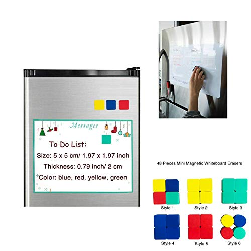 Dry Erase Erasers, 48 Pieces Mini Magnetic Whiteboard Erasers Dry Erase Erasers Chalkboard Erasers for Home, Classroom, Office