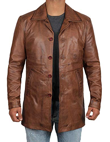 Genuine Brown Leather Jacket Coat