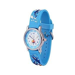 Wolfteeth Young Little Boys Kids Children Cool Wrist Watch Time Teacher, Cartoon Character 3D Dolphin Blue Watchband 303614