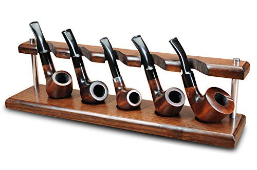 KAFpipeWorkshop Pipe Stand Tobacco Pipe Rack for 5 Smoking Pipes Wooden Pipe Holder from ASHTree Handmade ()